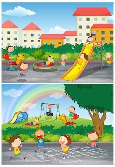 Zestaw dzieci bawiących się na scenach z placu zabaw