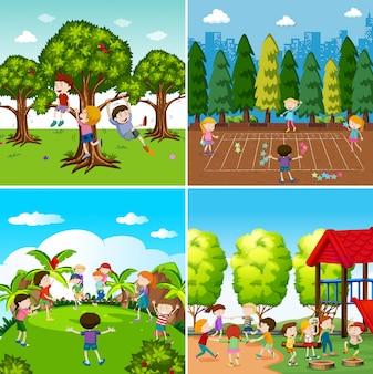 Zestaw dzieci bawiących się scenami