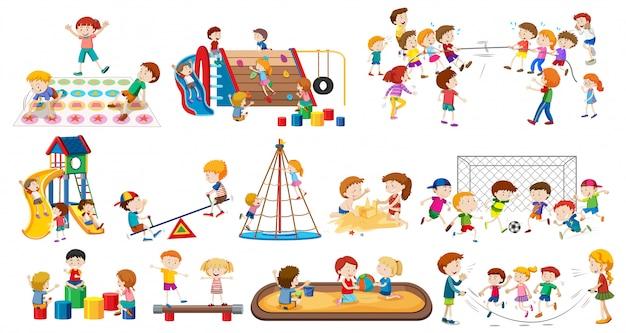 Zestaw dzieci bawiących się