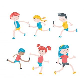 Zestaw dzieci biegających