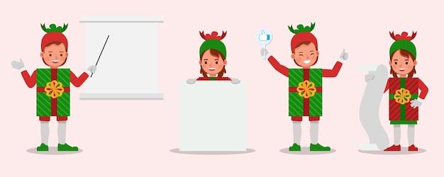 Zestaw dzieci chłopca i dziewczynki noszących postać kostiumów prezent świąteczny