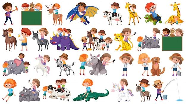 Zestaw dzieci i zwierząt