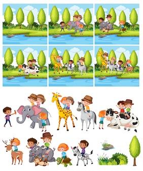 Zestaw dzieci jeżdżących na zwierzętach