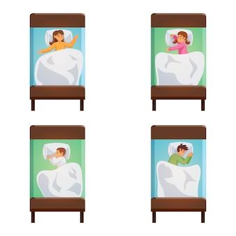 Zestaw dzieci na białym tle do spania