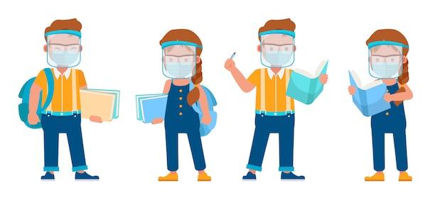 Zestaw dzieci noszących maski medyczne i osłona twarzy. prezentacja w różnych akcjach z emocjami.