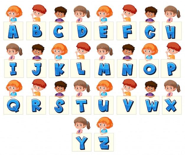 Zestaw dzieci posiadających litery