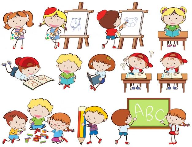 Zestaw dzieci robiących zajęcia