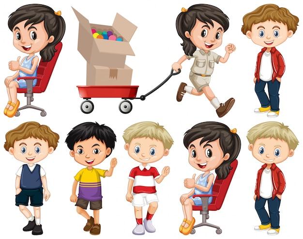 Zestaw dzieci tematu na białym tle obiektów