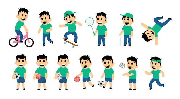 Zestaw dzieci ulicy i aktywności sportowej. zabawny chłopak w różnych pozach działania. kolorowa ilustracja. na białym tle.