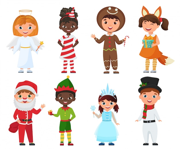 Zestaw dzieci w strojach świątecznych.