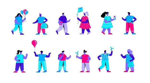 Zestaw dzieci w wieku przedszkolnym, grając z wiatraczek płaski niebieski charakter ludzi