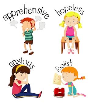 Zestaw dzieci wykonujących czynności z przymiotnikami