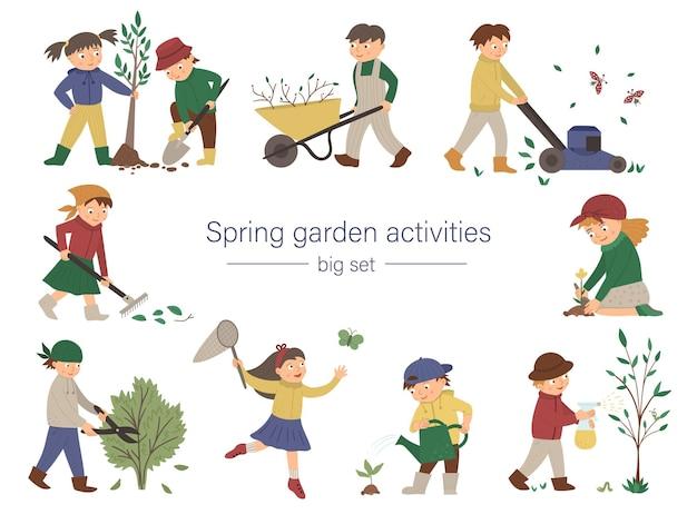 Zestaw dzieci wykonujących prace w ogrodzie. wiosenna kolekcja dzieci z narzędziami ogrodniczymi. młodzi ogrodnicy sadzą drzewa, podlewają rośliny, grabią, łapią motyle.