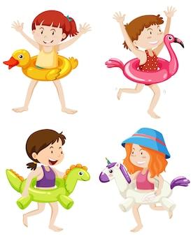 Zestaw dzieci z kółkiem do pływania w wodzie na białym tle