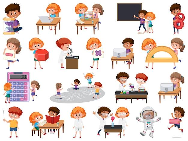 Zestaw dzieci z obiektami edukacji na białym tle