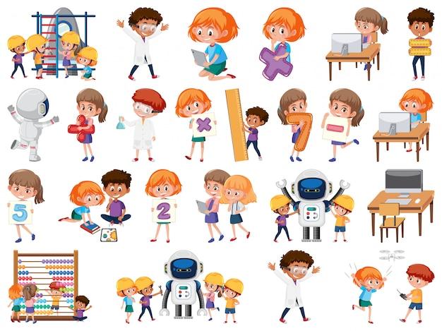 Zestaw dzieci z obiektami edukacyjnymi