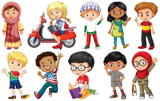 Zestaw dzieci z różnych krajów