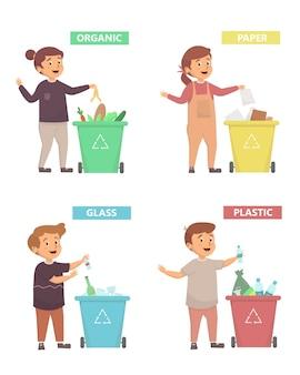 Zestaw dzieci z różnymi koszami na śmieci prawidłowo z koncepcją śmieci