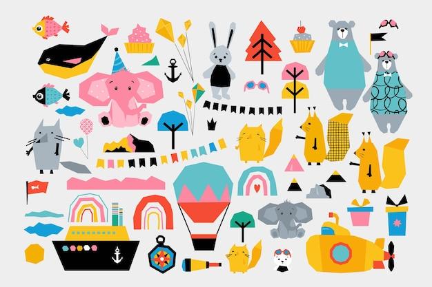 Zestaw dziecięcy z uroczymi zwierzętami podróżnikami. styl kolażu przyciętych krawędzi