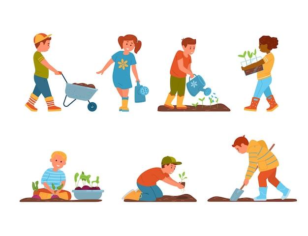 Zestaw dziecięcych chłopców i dziewcząt w ogrodnictwie w kaloszach