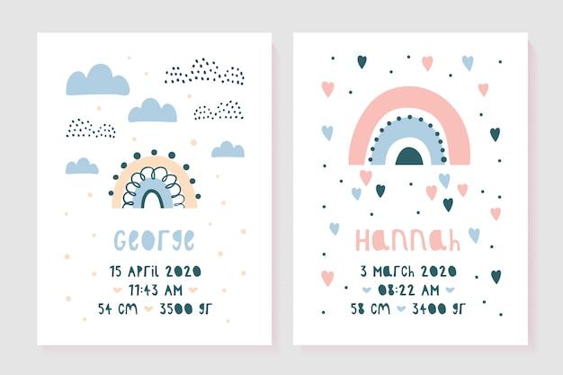 Zestaw dziecięcych plakatów, wzrost, waga, data urodzenia.