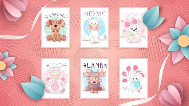 Zestaw dziecinnych ilustracji zwierząt