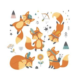 Zestaw dziecinnych kreskówek słodkie lisy plemienne. ręcznie rysowane doodle