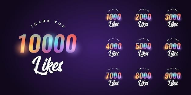 Zestaw dziękuję 1000 polubień do 10000 polubień szablonu
