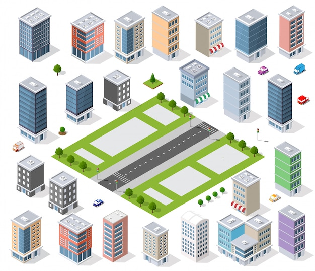 Zestaw dzielnicy miejskiej
