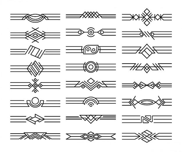 Zestaw dzielników granic. dekoracyjne czarne winiety. kaligraficzne elementy projektu i dekoracja strony