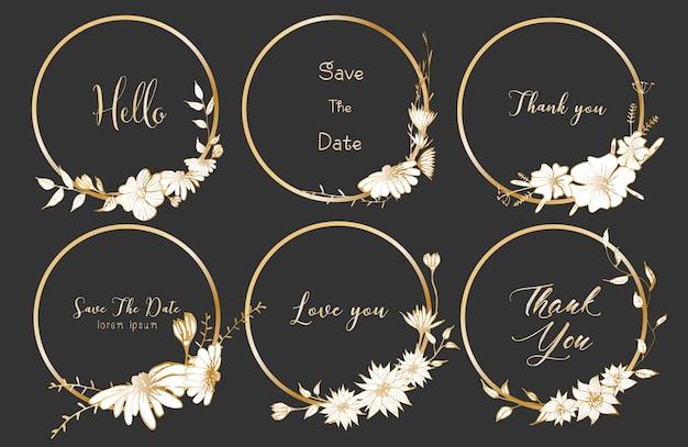 Zestaw dzielników okrągłe ramki, ręcznie rysowane kwiaty.