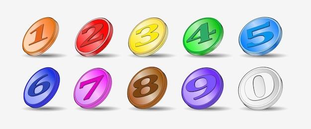 Zestaw dziesięciu 3d wielokolorowych monet monety medalowe 12345678910 gra w kasynie badge point