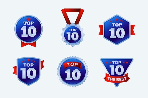 Zestaw dziesięciu najlepszych etykiet