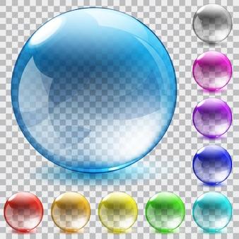 Zestaw dziesięciu wielobarwnych przezroczystych szklanych kul z tłem w kratkę shadowson