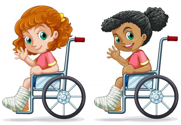 Zestaw dziewcząt na wózku inwalidzkim