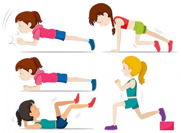 Zestaw dziewcząt robi ćwiczenia fitness