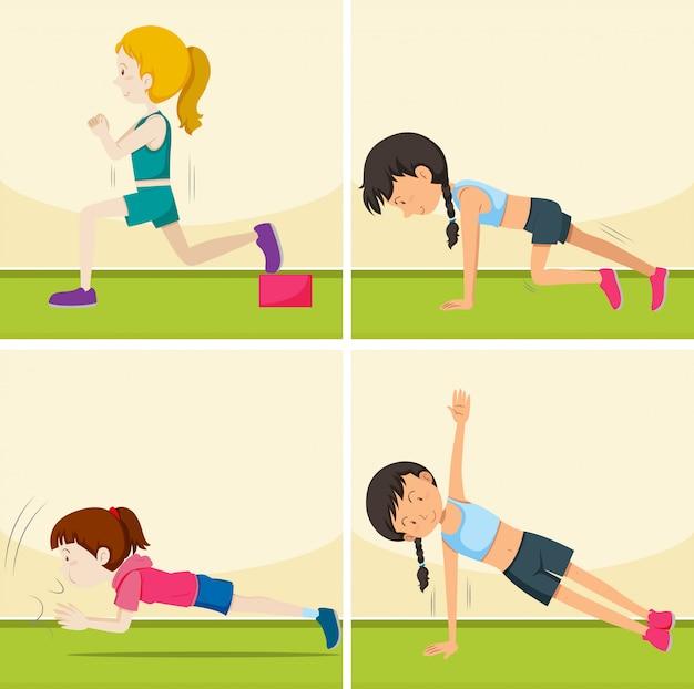 Zestaw dziewcząt robienie ćwiczeń