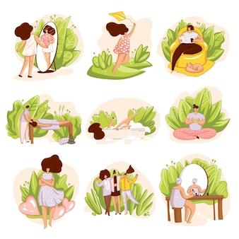 Zestaw dziewczyn, kobieta dbająca o siebie. salon spa, masaż, samotna lektura książki, szczęście i miłość do siebie ilustracja, medytacja i kąpiel. koncepcja miłości własnej.