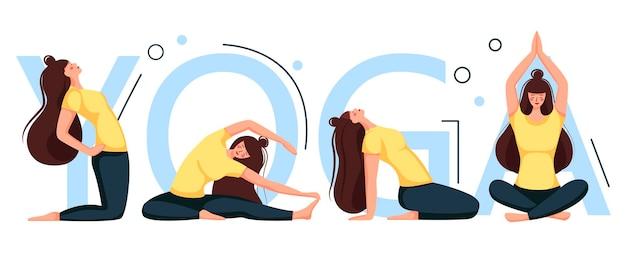 Zestaw dziewczyn robi joga. asany.