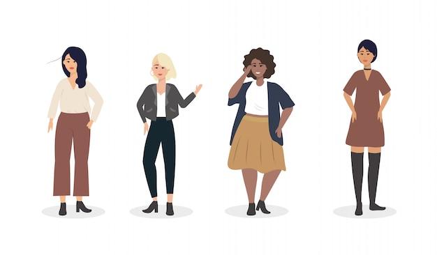 Zestaw dziewczyn z nowoczesnymi ubraniami casual