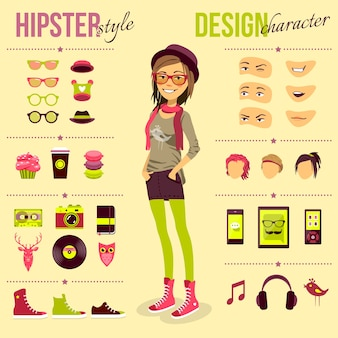 Zestaw dziewczyna hipster