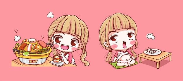 Zestaw dziewczyna jedzenie patelni wieprzowej na różowym tle