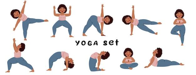 Zestaw dziewczyna robi joga jogi. pulchna dziewczyna w różnych pozach na białym tle. ilustracja wektorowa w stylu płaskiej