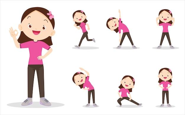 Zestaw dziewczyna wykonuje różne czynności, różne czynności, aby poruszać ciałem zdrowo