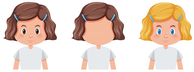 Zestaw dziewczyna z inną fryzurę