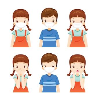 Zestaw dziewczynki i chłopca noszących maskę przeciwpyłową w celu ochrony przed kurzem`` dymem, smogiem, chorobą koronawirusa,