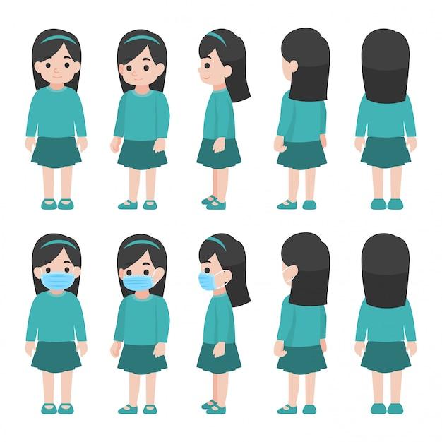 Zestaw dziewczynki w nowym normalnym życiu noszącym chirurgiczną ochronną maskę medyczną