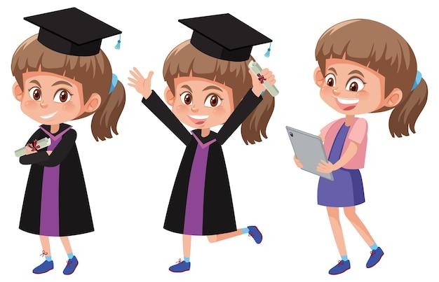 Zestaw dziewczyny w sukni ukończenia szkoły w różnych pozach