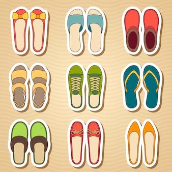 Zestaw dziewięciu butów kobieta ikona