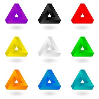 Zestaw dziewięciu jasnych kolorowych trójkątów penrose.